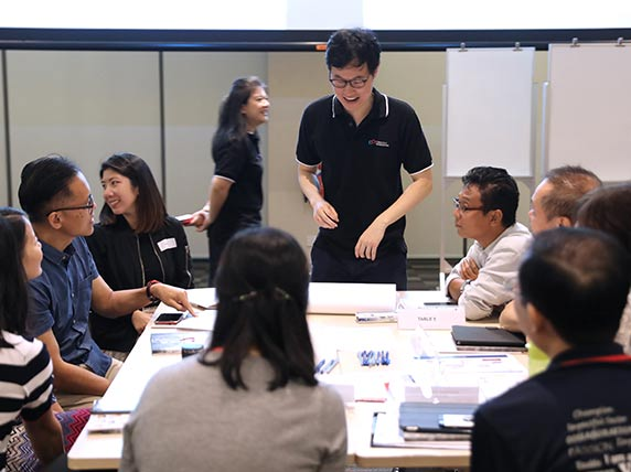 Conjunct Co-Founder Kwok Jia Chuan engaging participants at the Volunteer Management Networking Session, hosted by NCSS on 27 May 2019