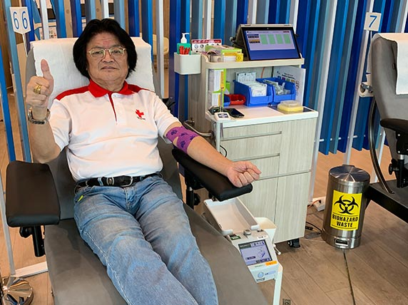 Beyond blood donation, Augustine volunteers tirelessly in other areas with the Singapore Red Cross, from emergency response to community events